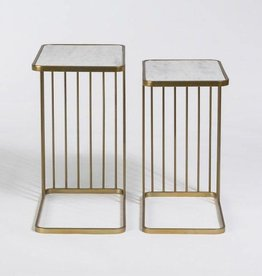 Retro Nesting Tables in Cloud Marble & Antique Brass