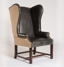 Rockwell Occasional Chair in Antique Charcoal & Natural Burlap