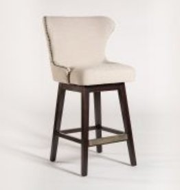 Rockwell Swivel Bar Stool in Cement Herringbone and Ebony