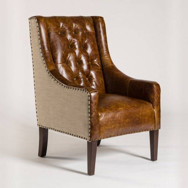 Wescott Occasional Chair in Antique Brompton and Khaki Herringbone ... - Occasional Chairs - Beckman's