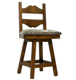 "24"" Tuscan Swivel Barstool W/Leather Seat"