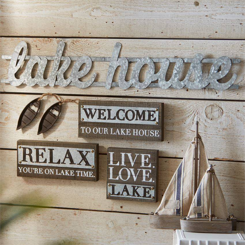 Metal Lake House Sign