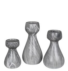 Privilege 3 Pc Candle Holders - Grey Marble