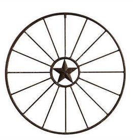 "32-1/4"" Round Metal Wagon Wheel Wall Décor"