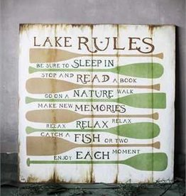 """32-1/2"""" Square MDF """"Lake Rules"""" Wall Décor"""