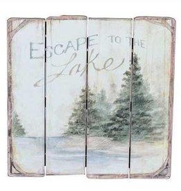 "18"" Square MDF ""Escape To The Lake"" Wall Décor"