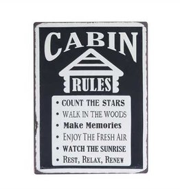 "Metal ""Cabin Rules"" Wall Décor"