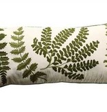 "32""L x 15""H Cotton Pillow w/ Fern Fronds Embroidery"