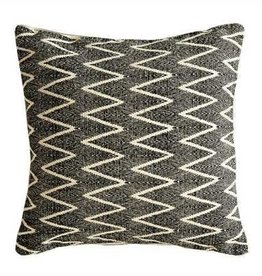 "18"" Square Cotton Pillow w/ Chevron Print, Natural/Black"