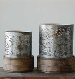 "Large Punched Metal Hurricane w/ Mango Wood Base, Holds 3"" Pillar Candle"