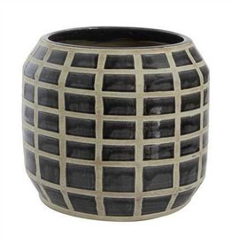 "Terra Cotta Pot w/ Grid Pattern, Black, Holds 10"" Pot"