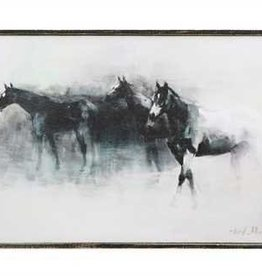 Wood Framed Canvas Wall Décor w/ Horses