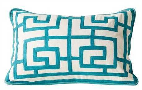 """20""""L x 14""""H Cotton Crewel Pillow, Aqua"""