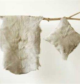 """35""""L Goat Fur Rug, Grey"""