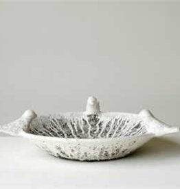 Terra-Cotta Decorative Bowl w/ Birds, Heavily Distressed White Finish