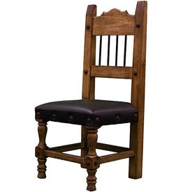 Torno Chair W/Leather Seat & Iron Spindles