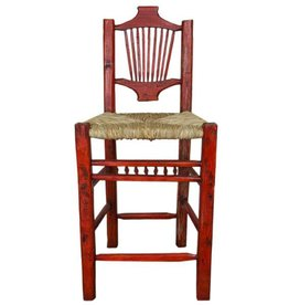 Red Resplendor Bar Stool W/Wicker Seat