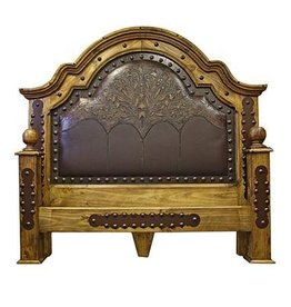 Tooled Leather and Wood Bed