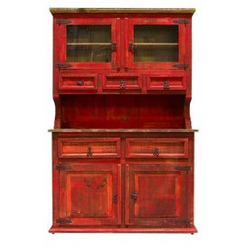 2 PC Wood China Cabinet
