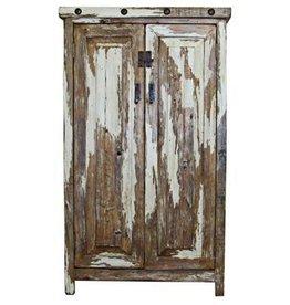 Old Wood 2 Door Colored Cabinet