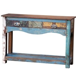 Painted 2 Drawer Console W/Shelf