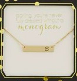 Gold Initial Bar Necklaces