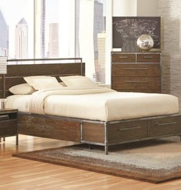Coaster Arcadia Industrial Queen Platform Bed with Pewter-Coated Metal Accents