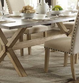Homelegance Luella X-Trestle Dining Table, Weathered Oak