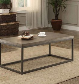 Homelegance Daria Cocktail/Coffee Table - Weathered Wood Table Top w/ Metal Framing