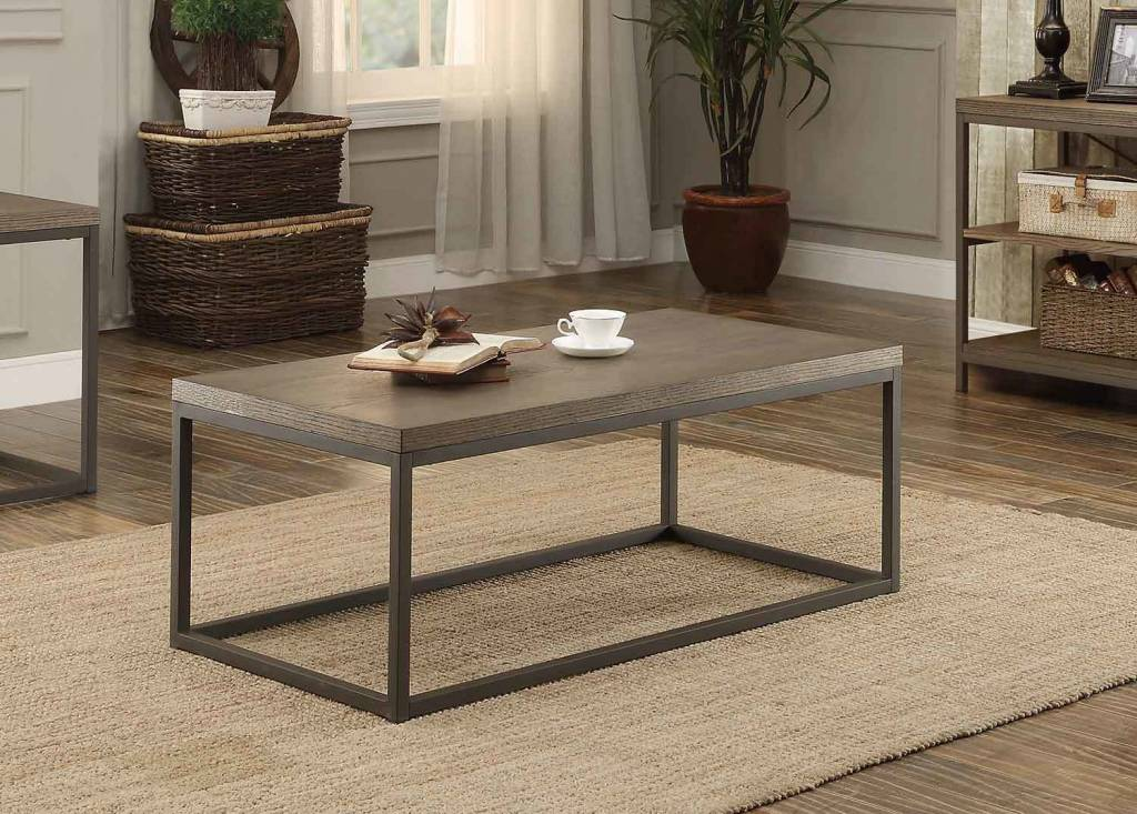 Homelegance Daria Tail Coffee Table Weathered Wood Top W Metal Framing