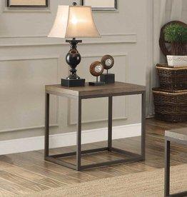 Homelegance Daria End Table - Weathered Wood Table Top w/ Metal Framing