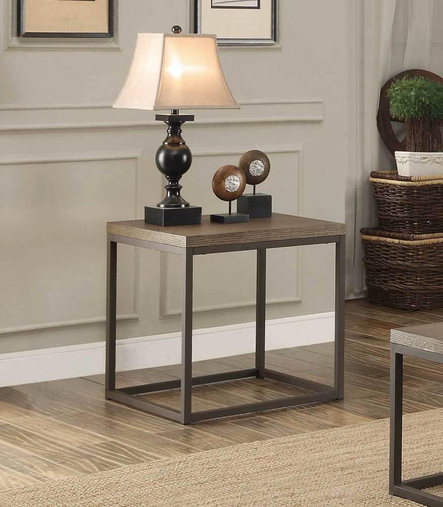 Homelegance Daria End Table Weathered Wood Top W Metal Framing