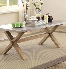 Homelegance Luella Cocktail/Coffee Table - Weathered Oak with Zinc Table Top ID: 69940