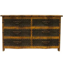 Curved Front 6 Drawer Dresser W/Tooled Leather