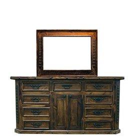 Fine Lacquer 6 Drawer Dresser W/Mirror