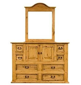 Mansion Dresser and Mirror With Light Finish