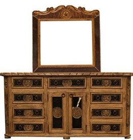Over-sized Cowhide Dresser and Mirror