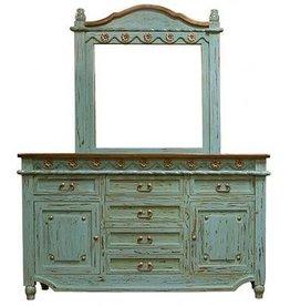 Turquoise Grande Door Dresser W/Mirror