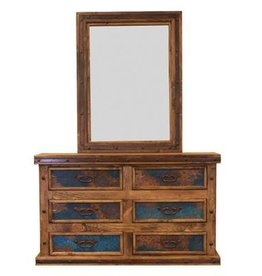 Dresser with Turquoise Copper Panels W/Mirror