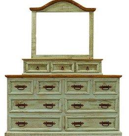 Turquoise 8 Drawer Dresser W/Mirror