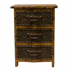 Curved Front 3 Drawer W/Tooled Leather