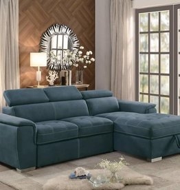 Homelegance Ferriday Reversible Sleeper Sectional with Hidden Storage-Blue
