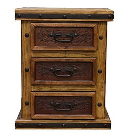 Drawer Nightstand W/Tooled Leather
