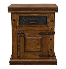 Door Nightstand W/Tooled Leather Drawer