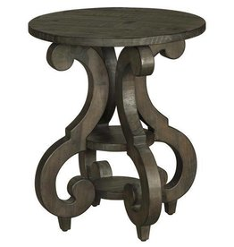 Wood Round Accent End Table