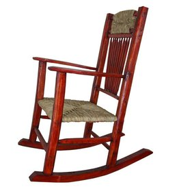 Red Rocking Chair W/Wicker Seat
