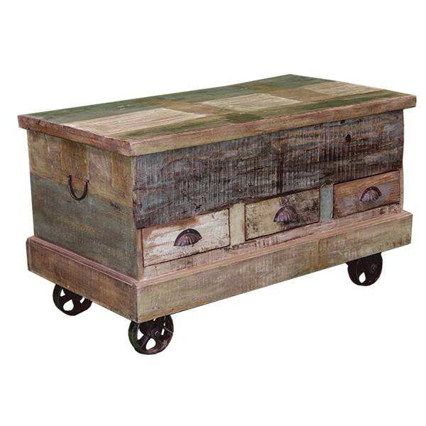 painted storage trunk w iron wheels beckman 39 s