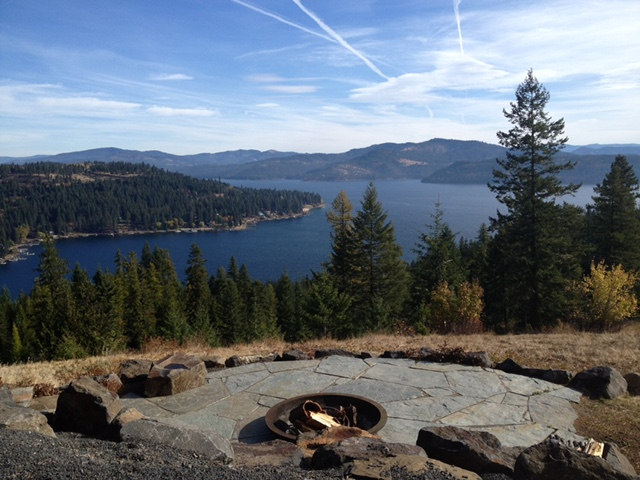 fire pit overlooking the lake