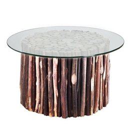Topi End Table With Glass Top