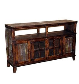 Medio TV Stand W/Painted Reclaimed Wood Doors